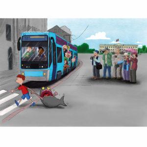 Palle drar Fjodor over veien mens turister og trikken ser på