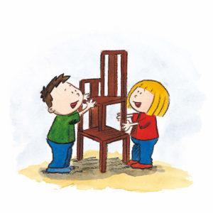 Mons og Mona bygger en stige av stoler