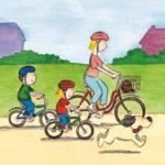 Mons, Mona og mamma sykler til butikken, Boffen løper ved siden av