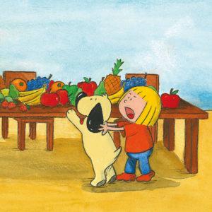 Mona drar Boffen vekk fra frukt på bordet