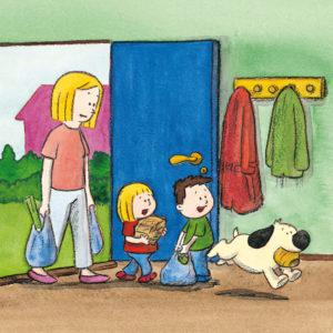 Mons, Mona, mamma og boffen kommer hjem fra butikken