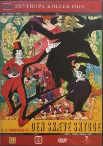 Den skaeve skygge, DVD omslag, H.C.Andersen, skyggen, djevelen og ett mylder av filmens karakterer