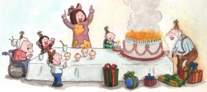 Ett. Ursdagsselskap til en hundreåring med en kake med hundre lys