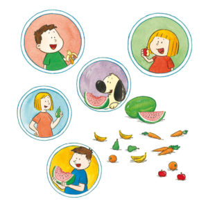 Mons, Mona, boffen og foreldrene spiser frukt