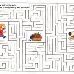 Mons og Mona prøver å komme før Boffen til en skål med frukt i en labyrint