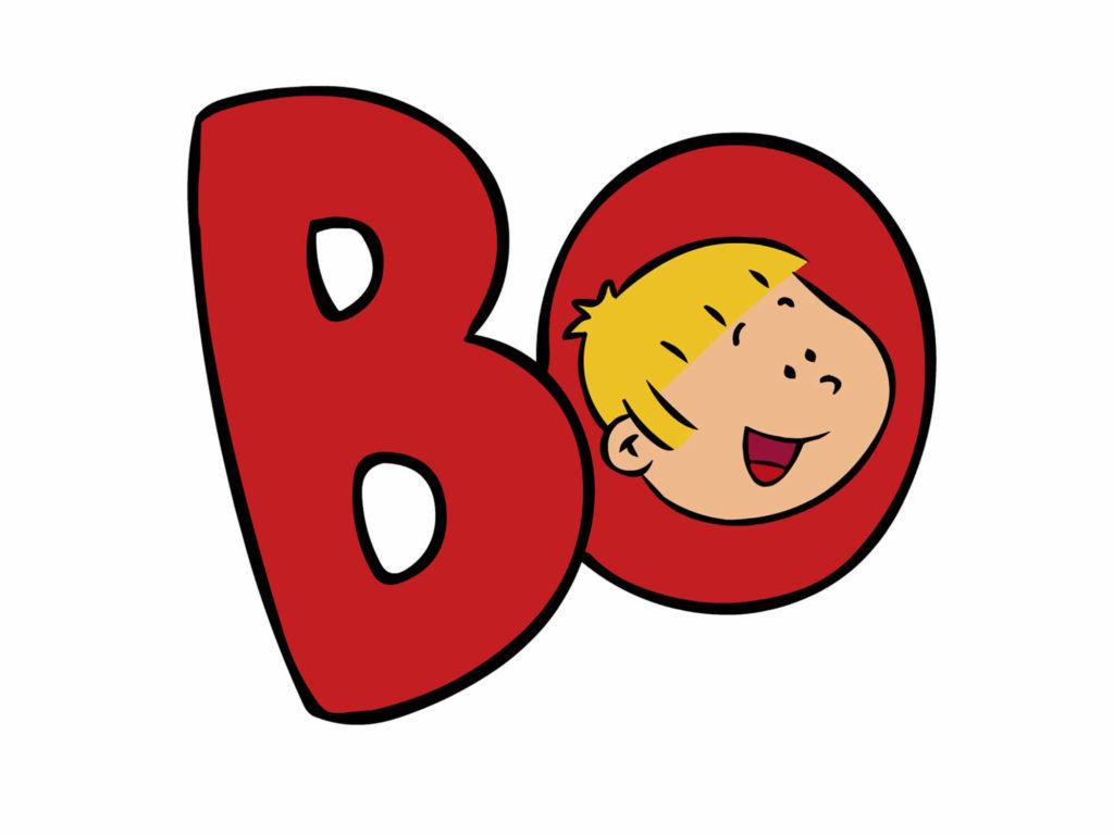 Hodet til bo inne i en rød Bo logo