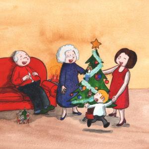 Bo, mamma og bestemor danser rundt juletreet