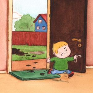Bo løper inn i huset med skitne sko og meitemark