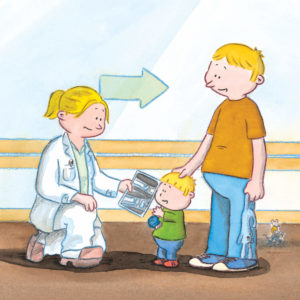Bo får røntgenbilde av armen sin av doktoren