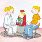 Legen snakker med Bo og pappa