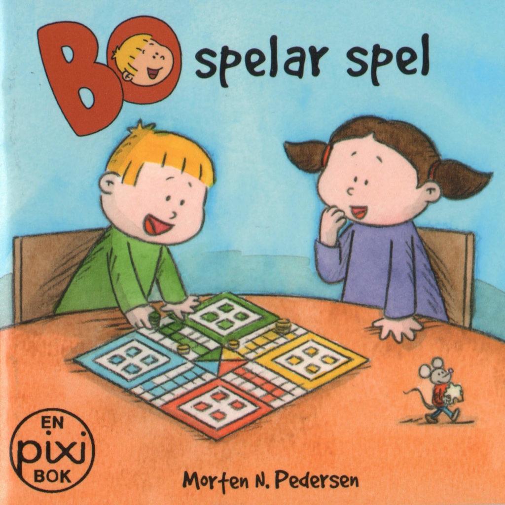 Omslag, Bo spelar spel, Bo og Nora sitter ved ett bord og spiller ludo