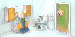 Bo står foran speilet pappa spør om han vil spise