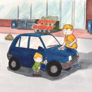 Bo og pappa polerer bilen og drikker brus