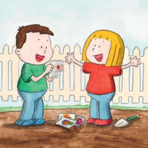Mons og Mona står i kjøkkenhagen med en pose frø