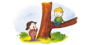 Bo sitter på en lav gren