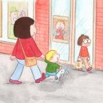 Bo og mamma er på vei inn i matbutikken