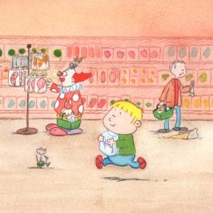 Bo løper gjennom butikken med en pakke sukker