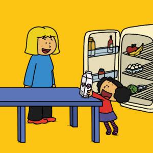 Katja tar frem melk fra kjøleskapet