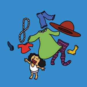 Katja kaster klær i luften