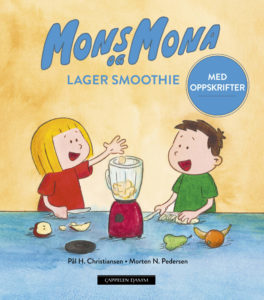 Bokomslag, Mons og Mona lager smoothie, de kutter frukt og legger i en blender