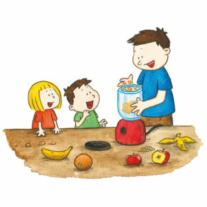 Mons og Mona ser på pappa legge frukt i en blender