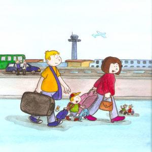 Mamma, pappa og Bo går på flyplassen med bagasje