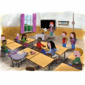 Fjodor blir introdusert av en lærer til elever i ett klasserom