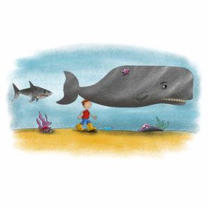 Palle går på havbunnen med en hval og en hai