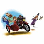 Fjodor kjører Palle, mor og far i en motorsykkel med sidevogn