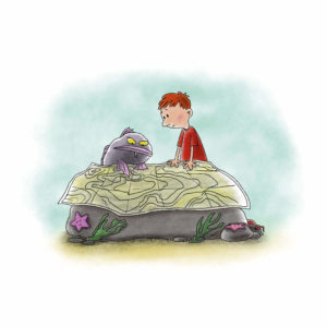 Palle og Fjodor kikker på ett stort kart