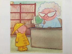 Bo som gris blir hysjet på av bibliotekaren.