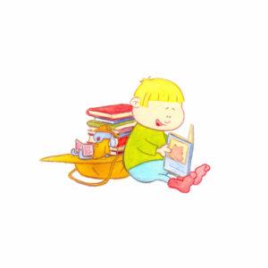 Bo og kosekaninen leser bøker