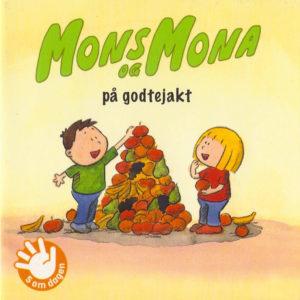 Omslag, Mons og Mona på godtejakt, de bygger en pyramide av frukt
