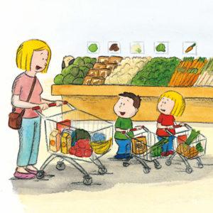 Mamma, Mons og Mona er i butikken, Boffen lusker i bakgrunnen
