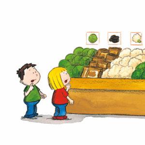 Mons og Mona leter etter kålrot i grønnsaksdisken