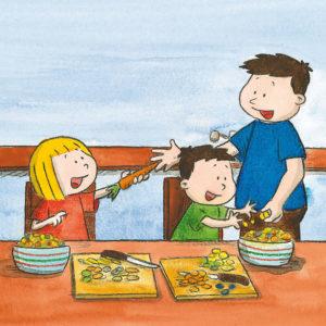 Mona gir pappa en gulrot, mons lager fruktsalat