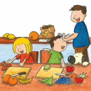 Mons og Mona lager fruktsalat, pappa og Boffen ser på