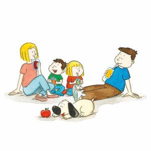 Mons og Mona og foreldrene drikker smoothie med sugerør