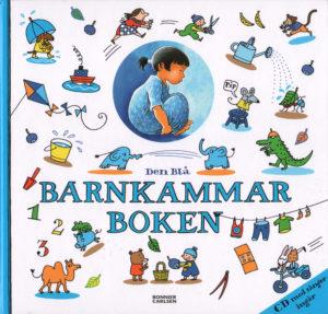 Omslag, Den blå Barnkammaboken, ett mylder av småbilder fra elefanter til hund med paraply