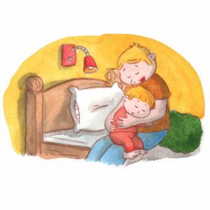 Pappa gir Bo en nattaklem