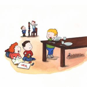 Bo dekker bordet og snakker med noen andre barn i barnehagen