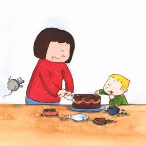 Mamma og Bo lager kake, Bo smaker på kaken