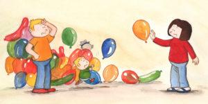 Pappa, Bo og mamma med masse ballonger