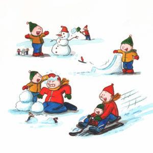 Bo og pappa er ute å leker i snøen