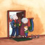 Bestemor og bestefar kommer på besøk til jul
