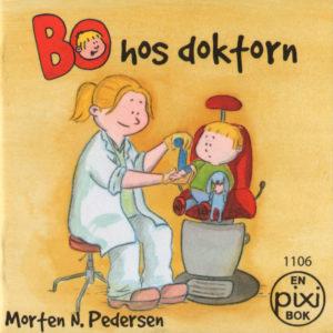 Omslag, Bo hos doktorn, doktoren gipser armen til Bo