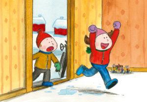 Bo og Nora kommer inn fra å ha lekt ute i snøen