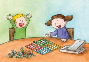 Bo og Nora spiller ludo