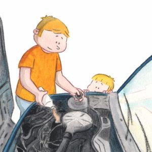 Pappa heller olje på motoren mens Bo ser på