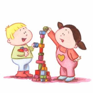 Bo og Katja bygger med klosser